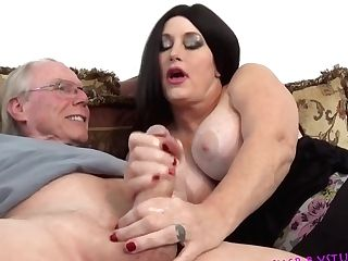 Mom & Dad Home Alone Tugjob! With Sherry Stunns & Jack Moore