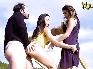 Mamacitaz - #frida Sante #cassie Del Isla #miguel Zayas - Threesome Joy By The Beach With A Sexy French Honey And Her Bff