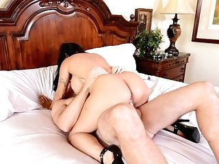 Awesome Huge-titted Dark Haired Holly Halston Gains Delight By Railing And Sucking A Man Sausage