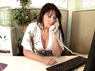 Big-titted Cougar Eva Karera Gives Lusty Head In Office