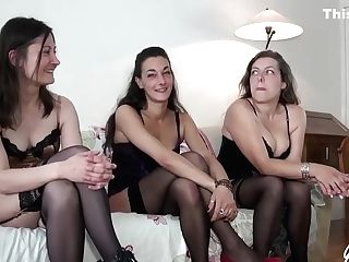Ladies In Erotic Undergarments, Stockings And High High-heeled Shoes Are Playing With Various Intercourse Fucktoys And A Boner