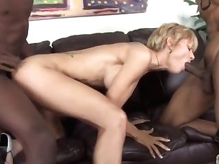 Cameron V. Takes On Two Big Black Cock
