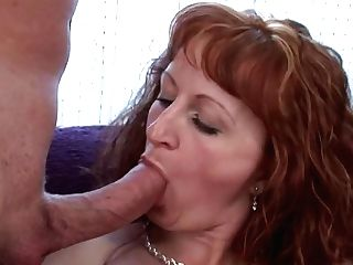 Ginger-haired Mummy Masturbates And Does Pro Oral Job