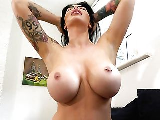 Tattooed Brown-haired Maxi Rhodes Loves Flashing Her Awesome Big Melons
