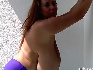 Abbisecraa E080. Purple Swimsuit On Terrace 20.07.2014