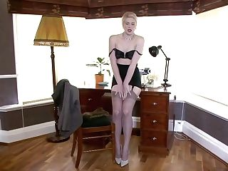 Amazing Blonde Assistant In Erotic Stockings, Does Not Mind Demonstrating Her Tits And Honeypot To The Camera