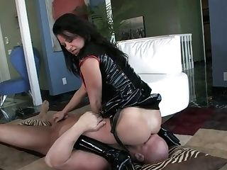 Horn-mad Dude Has To Be Obedient And Licks Twat Of Strong Buxom Prodomme